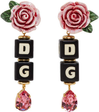 Dolce & Gabbana Black and Pink Rose Clip-On Earrings