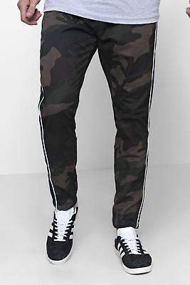 boohoo NEW Mens Camo Trousers With Side Piping Detail in Cotton