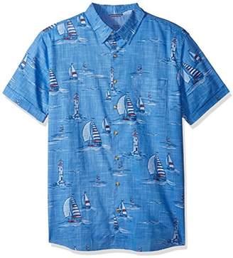 Izod Men's Big Dockside Chambray Print Short Sleeve Shirt (Big & Tall and Tall Slim)