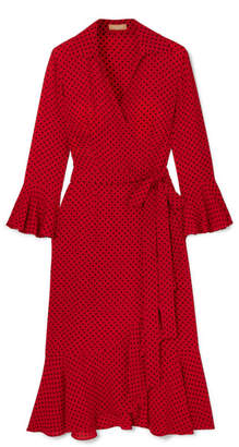 Michael Kors Ruffled Polka-dot Silk-georgette Wrap Dress