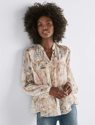 Lucky Brand FLORAL PRINTED PEASANT BLOUSE