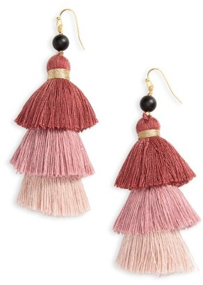Women's Nakamol Design Layered Tassel Statement Earrings $35 thestylecure.com