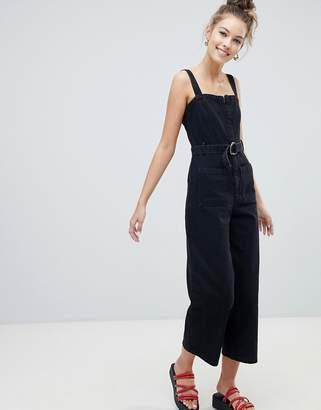 29a2863c99 Asos Design DESIGN denim jumpsuit with belt in washed black