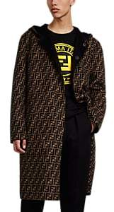 Fendi Men's Reversible Zucca-Print Wool Melton Coat - Black