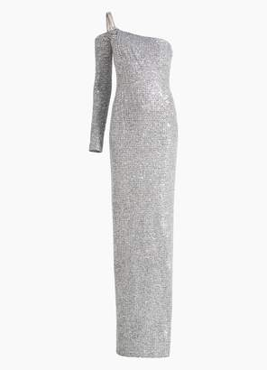 St. John Statement Sequin Knit Asymmetric Neckline Gown
