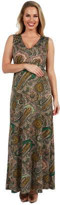 24/7 Comfort Apparel 24Seven Comfort Apparel Zooey Empire Waist Maternity Maxi Dress