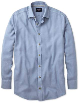 Charles Tyrwhitt Classic Fit Mouline Mid Blue Textured Cotton Casual Shirt Single Cuff Size Medium