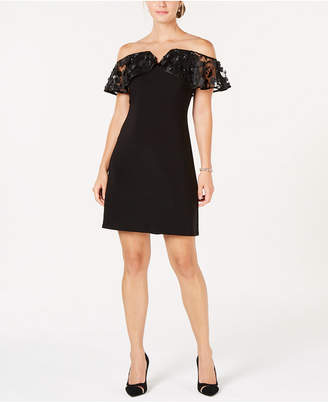 MSK Embellished Illusion Off-The-Shoulder Dress
