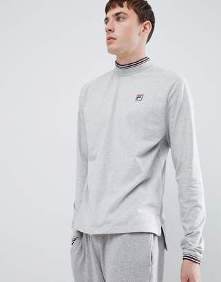 Fila White Line Quentin Long Sleeve T-Shirt With High Neck In Gray