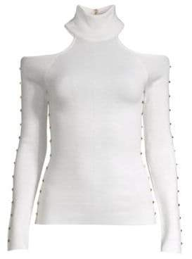 Alice + Olivia Kahlo Studded Cold-Shoulder Top