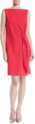 Oscar de la Renta Tie-Front Sleeveless Bateau-Neck Crepe Cocktail Dress