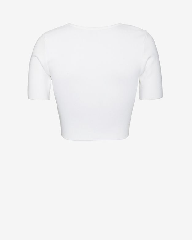 Torn By Ronny Kobo Short Sleeve Square Neck Crop Top