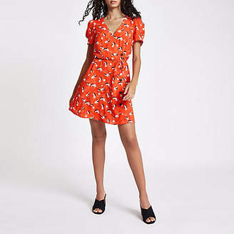 River Island Red print button down mini dress