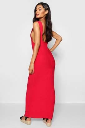 boohoo Low Back Side Boob Maxi Dress