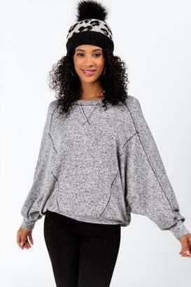francesca's Corey Dolman Sleeve Sweatshirt - Heather Gray