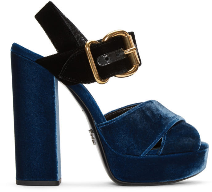Prada Blue and Black Velvet Platform Sandals