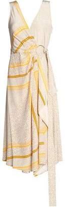 Derek Lam 10 Crosby Printed Draped Silk Midi Dress