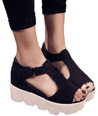 Geertiollk New New Summer Fashion T-Strap Fish Mouth Women Single Shoes PU Leather Gladiator Sandals Women Platform Wedges Shoes 8