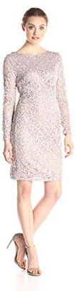 Marina Women's All Over Lace Dress with Long Sleeve and Scoop Back $109 thestylecure.com