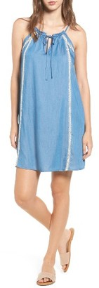 Women's Lush Embroidered Chambray Shift Dress $49 thestylecure.com