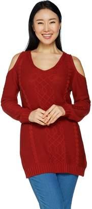 Laurie Felt Cable Knit Cold Shoulder Sweater