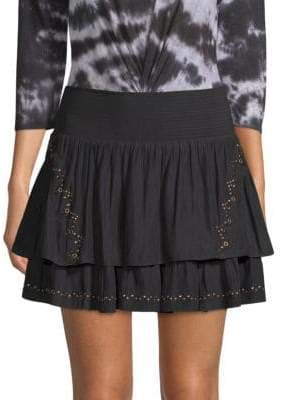 Ramy Brook Adelaide Embellished Tiered Mini Skirt
