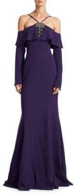 Teri Jon by Rickie Freeman Cold-Shoulder Halter Gown