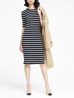 Banana Republic Petite Stripe Rib-Knit T-Shirt Dress