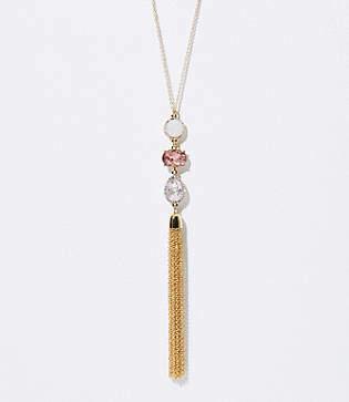 LOFT Stacked Stone Tassel Pendant Necklace