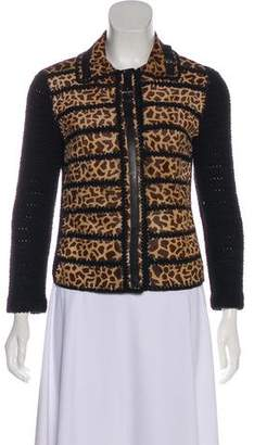 Prada Leather-Accented Knit Jacket