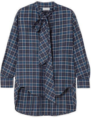 Balenciaga New Swing Checked Cotton-flannel Shirt - Navy
