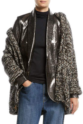 Brunello Cucinelli Hooded Velvet Effect Tweed Cardigan w/ Macro Paillettes