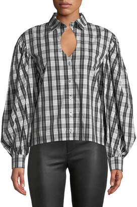 Victoria / Tomas Long-Sleeve Keyhole Blouse in Plaid