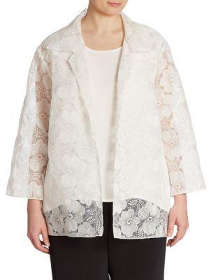 Caroline RoseCaroline Rose Morning Glory Embroidered Organza Jacket