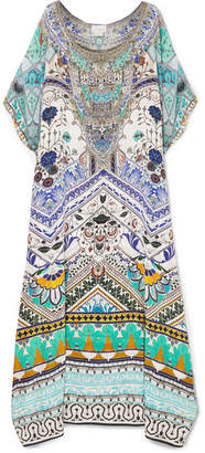 Camilla Everlasting Embellished Printed Silk Crepe De Chine Kaftan - Blue