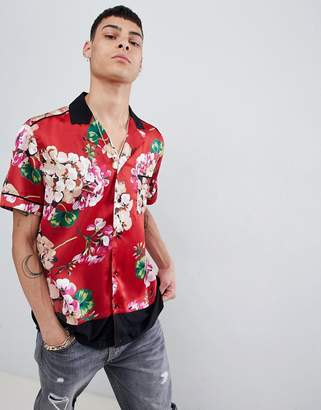 Mennace floral hem block shirt in red