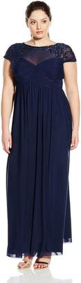 Marina Women's Plus-Size Long Dress with Illusion Bodice Short Sleeves and Skirt