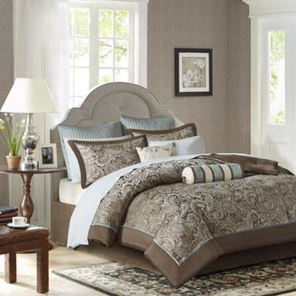 12-Piece Luxury Comforter Set in Gray Jacquard, California King