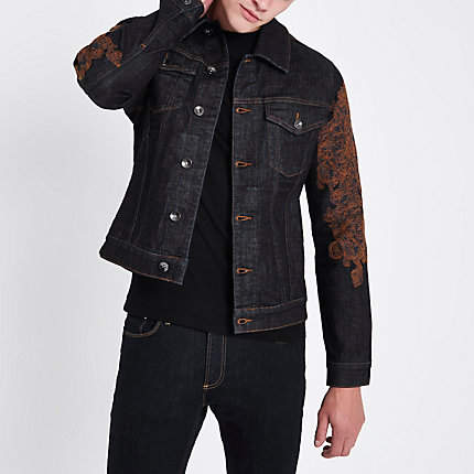 River Island RI 30 blue embroidered denim jacket