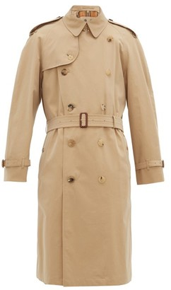 Burberry Westminster Double Breasted Gabardine Trench Coat - Mens - Beige