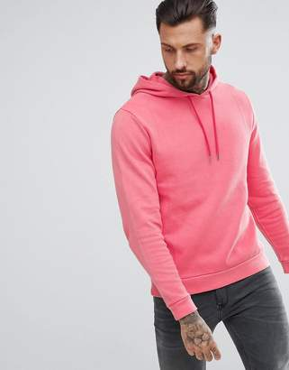 Asos Design Hoodie In Pink Overdyed Pique