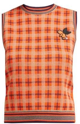 1ac853d0772dc9 Gucci Plaid Wool Sleeveless Sweater - Womens - Orange Multi