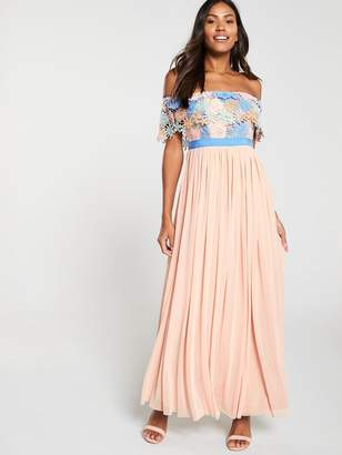Forever Unique U Collection Bardot Lace Top Pleated Maxi Dress - Multi