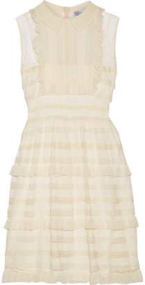 RED Valentino Ruffled Point D'esprit Tulle Mini Dress - Cream