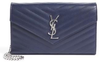 Women's Saint Laurent 'Monogram' Wallet On A Chain - Blue $1,550 thestylecure.com