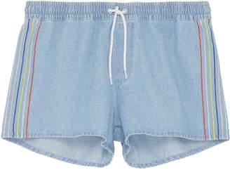 Etre Cecile Stripe outseam denim drawstring shorts