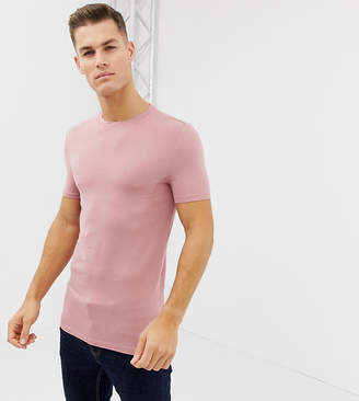 Asos Design DESIGN Tall muscle fit t-shirt with crew neck and stretch in pink