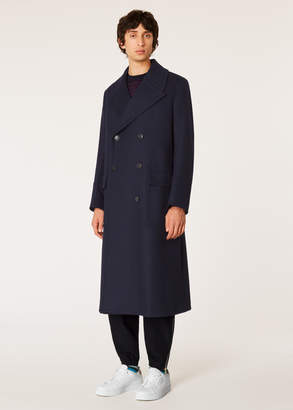 Paul Smith Men's Navy Double-Breasted Wool-Blend Overcoat