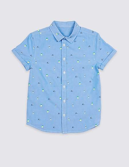 Pure Cotton Embroidered Shirt (3-16 Years)