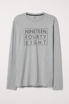 H&M Long-sleeved Sports Shirt - Gray